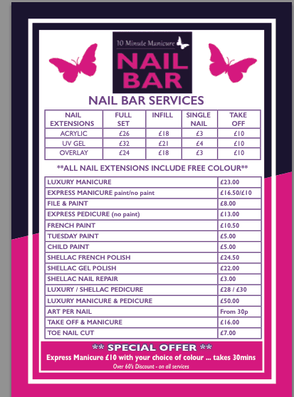Nail bar service price list in Luton