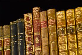 Leather bound and gilded books
