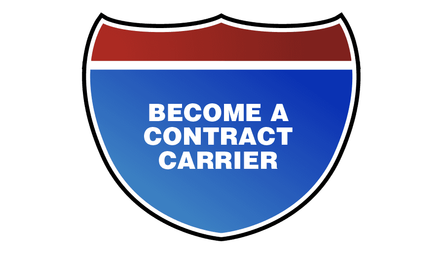 State highway sign that says become a contract carrier
