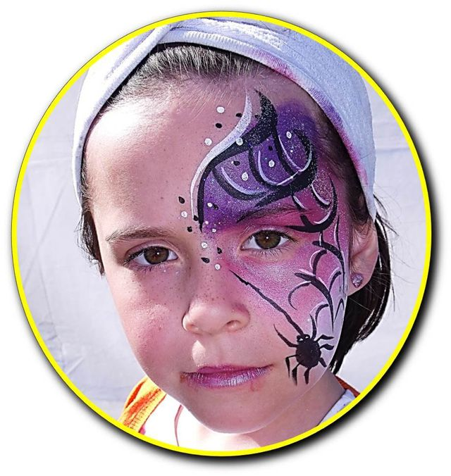 Spider's web theme on face
