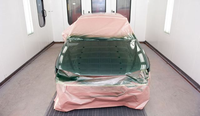 Car being painted at our collison center in Jackson, CA