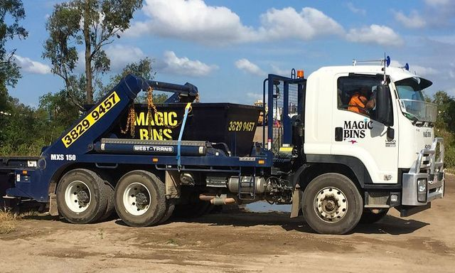 truck delivering skip bin