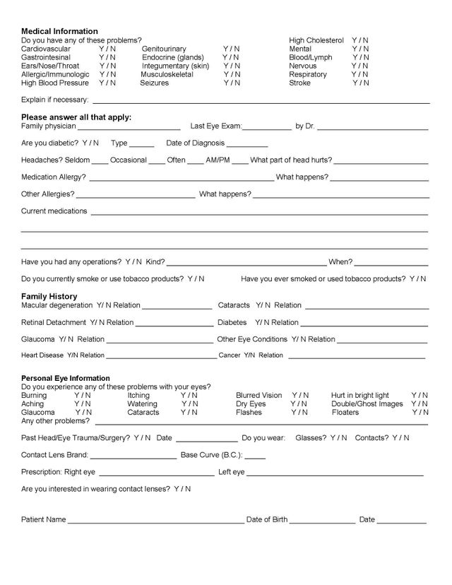 New Patients Forms