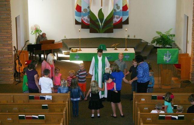 Congregation taking part in service in Spring Prairie