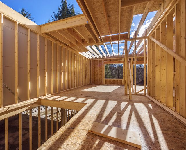 House frame on construction site