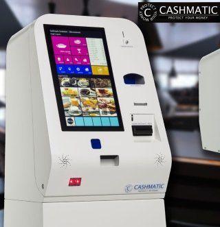 una cassa automatica con uno schermo touch screen della marca cashmatic