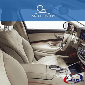 Interno di un' automobile con sedili in pelle con scritta in alto Sanity System