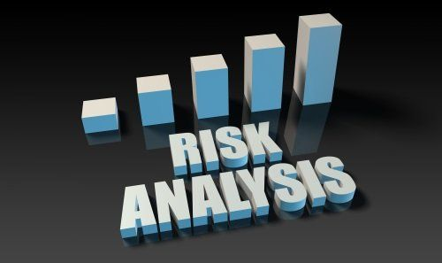 grafico 3d, scritta risk analysis
