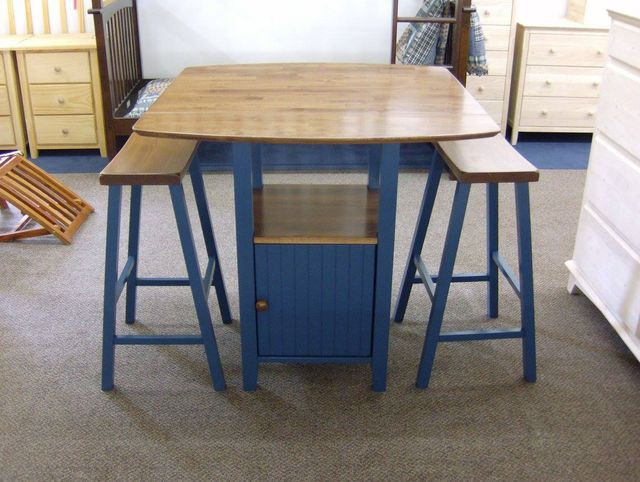Dropleaf Bistro Table With Storage And Saddle Seat Barstools From Whitewood Furniture Parawood A Delft Blue Browned Golden Oak Sherwin Williams