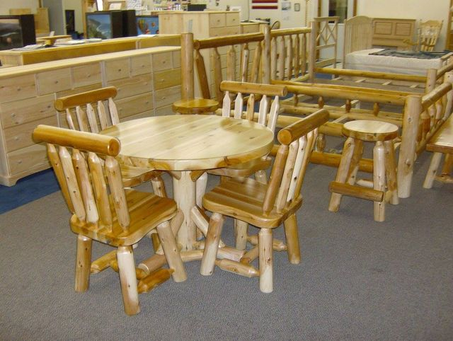 42 Round Dining Table Chairs Counter Stools Queen Fan Bed And From Cedar Log Furniture White With A Natural Finish