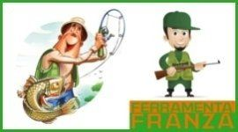 cacciatore, pescatore, logo ferramenta