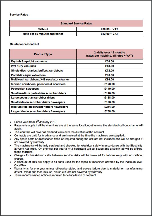 standard service rates sheet