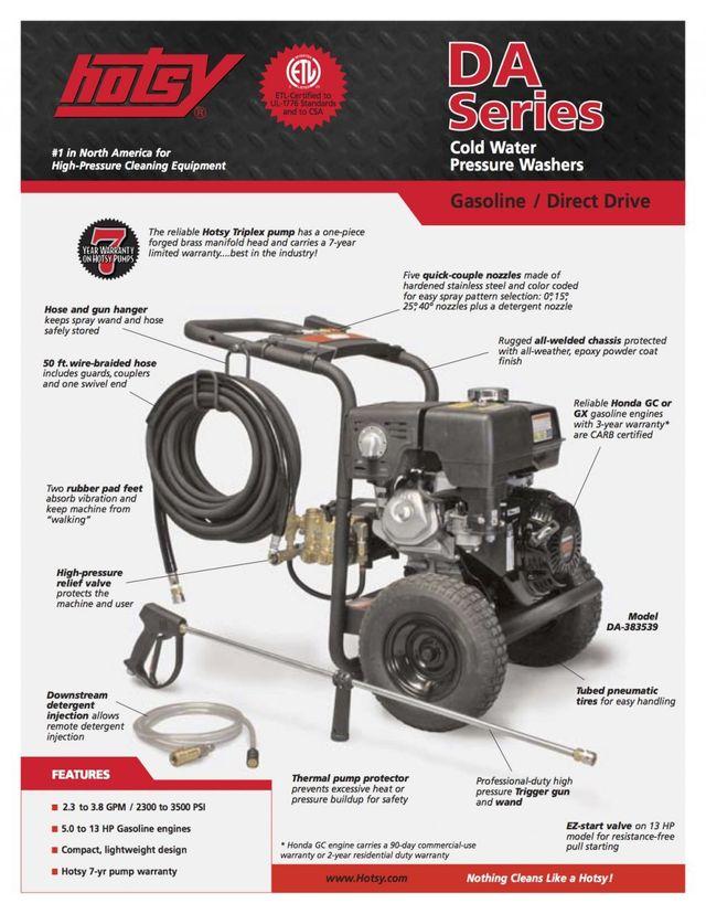 DA Series Product Sheet | Hotsy Pressure Washing Equipment