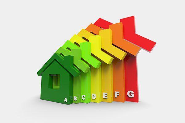 Immagine di rendering 3D che rappresenta il concetto di efficienza energetica in forme casa