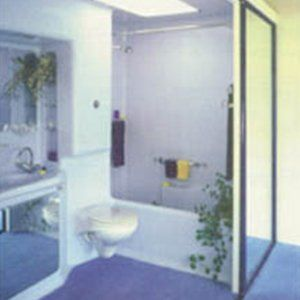 PUB BATHROOM with cantilever WC and Bath/Shower