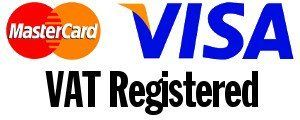 Visa and Mastercard Logos and VAT Resistered