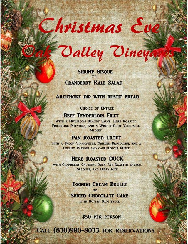 Christmas Eve Dinner Menu.Christmas Eve Menu Oak Valley Vineyards San Antonio Tx
