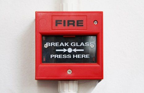 FIRE alarm fitted on the wall