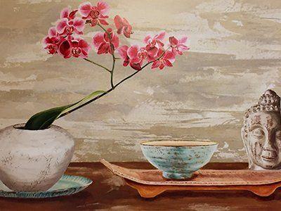 Dipinto  di vasi con dei fiori e una maschera a Galatone