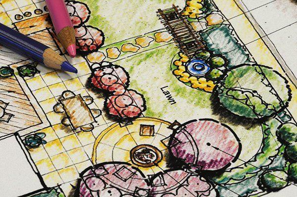 La bozza per la progettazione di un giardino