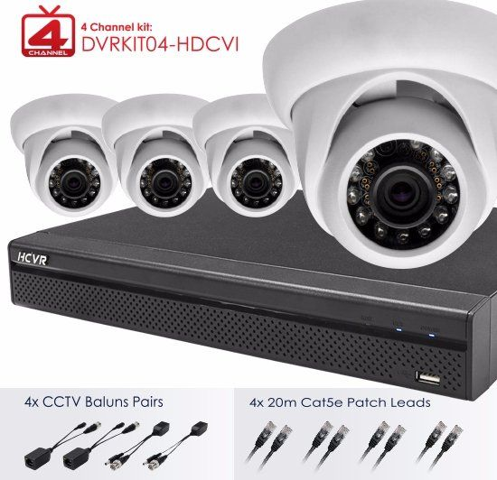 4 Channel Kit: DVRKIT04-HDCVI dahua mini dome camera with 4x CVTV Baluns Pairs & 4x20m Cat5e Patch Leads