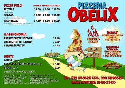 il menù delle pizze
