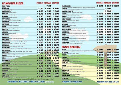 il menù della pizzeria Obelix