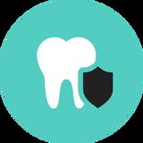 icona di un dente con scudo
