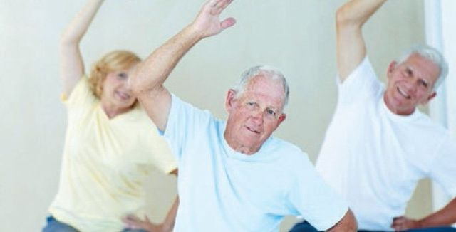 Old people doing stretching