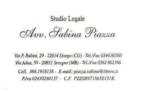 Insegna dell'Avv. Sabina Piazza