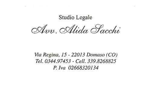 Insegna dell'Avv. Alida Sacchi
