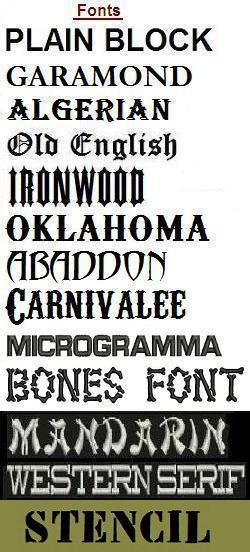 fonts for biker iron on rocker patches