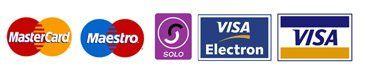 MasterCard, Maestro, SOLO, VISA ELECTRON and VISA card logos