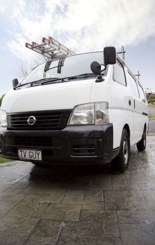 The TV Guy's antenna installation van in Tauranga