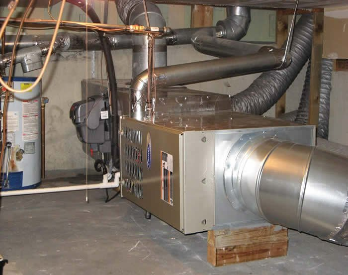 home heating unit in basement