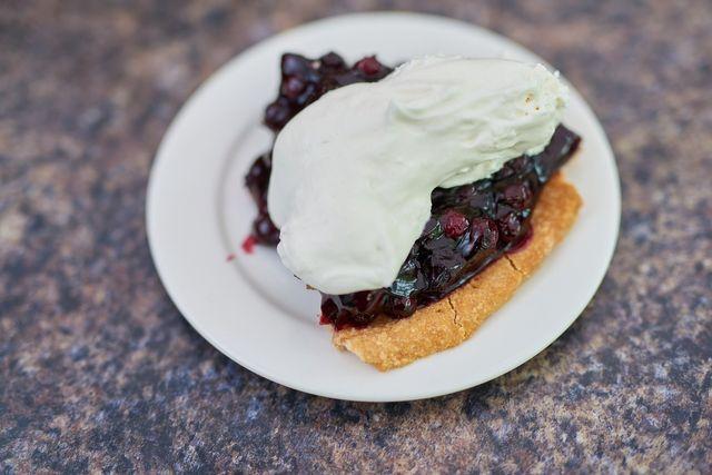 Saskatoon berry pie photo