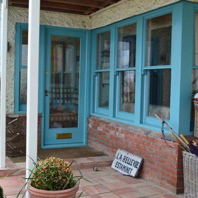 blue coloured door