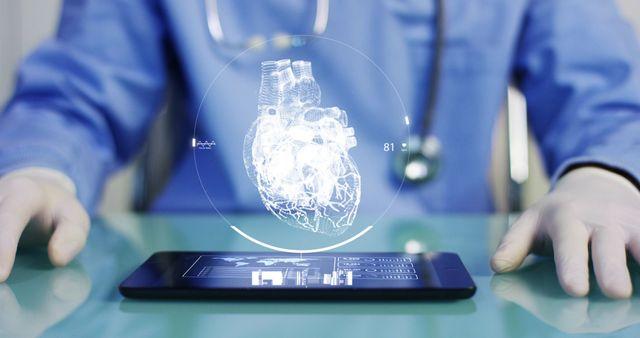 un tablet che proietta un'immagine 3d di un cuore