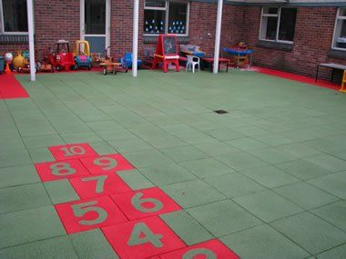 rubber tiles on school playground