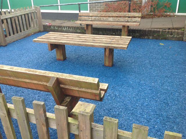blue rubber mulch school play area