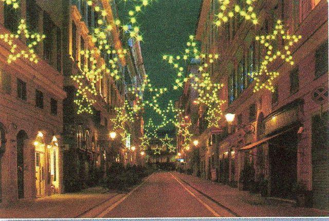 luminarie natalizie su alberi