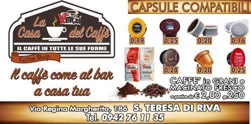 un volantino con scritto La Casa Del Caffè' e le immagini di alcune capsule