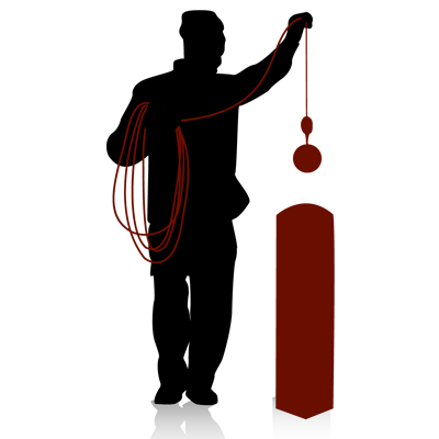 Graphic of a chimney sweeper cleaning a chimney
