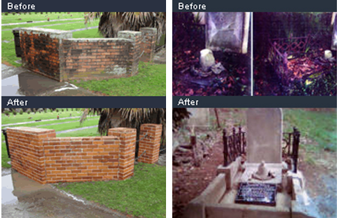 Examples of headstone restoration across Auckland
