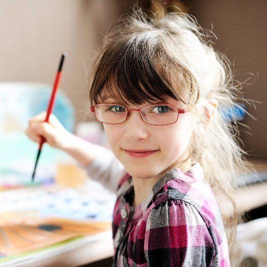Girl in Countryside Art Class