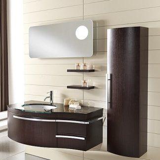 un set di mobili da bagno in legno scuro