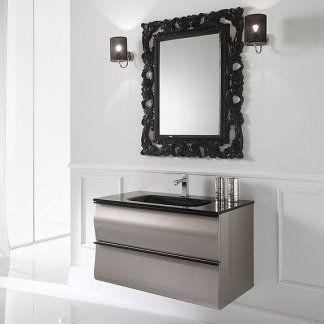un mobile da lavabo di color grigio