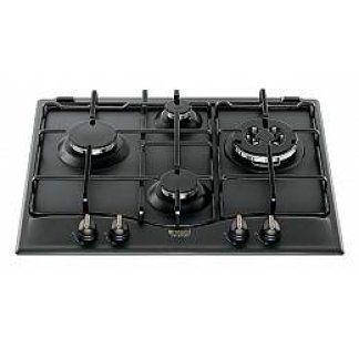 piano cottura di color nero con quattro fuochi