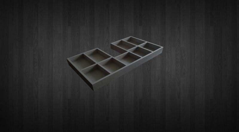 un disegno di cassettini di legno