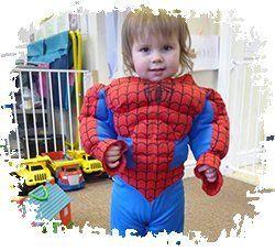 Baby in spiderman costume